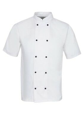 White Chefs Jacket Catering Uniform Half Sleeves With Black Popper Buttons Ins03