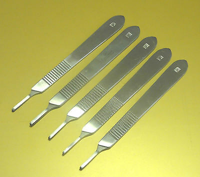 Pack of 5 Chiropody Surgical St Steel Scalpel Handles No 3 with Pack of Scalpels