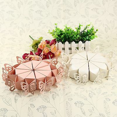 10pcs Lovely Candy Boxes Hollow Butterfly Pearl Paper Wedding Party Favors Gift