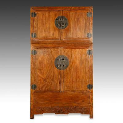 Fine Antique Chinese Qing Dynasty Camphor Wood Carvings Compound Cabinet