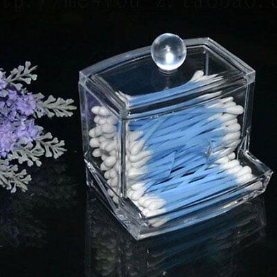 Clear Acrylic Cotton Storage Q-tip Holder Cosmetic Makeup Case Box