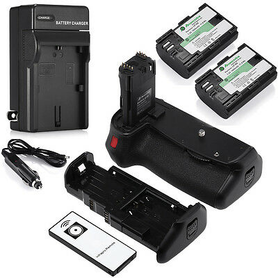 BG-E14 Battery Grip For Canon EOS 70D 80D + 2x LP-E6 Batteries + Charger +Remote