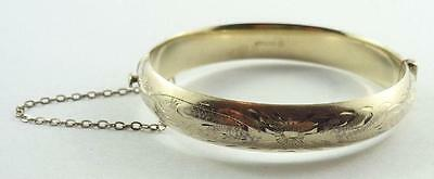 Lovely Vintage Gilt Sterling Silver Hinged Bangle Bracelet with Safety Chain
