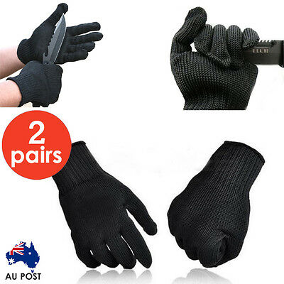 2x Pair Stainless Steel Safety Works Anti-Slash Stab Resistance Cut Proof Glove