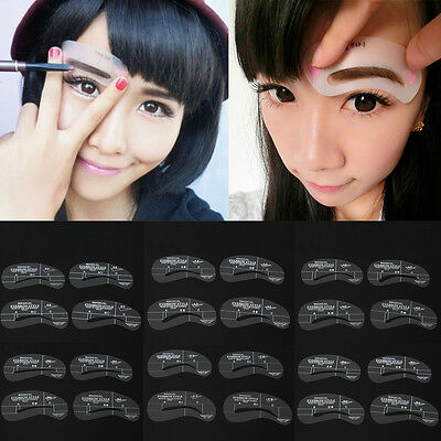 24pz 6 Set Sopracciglio Eyebrow Shaping Stencils Grooming Template Makeup Tool