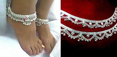 4 PCS INDIAN KUCHI ETHNIC BELLY DANCE HAND CRAFTED SILVER TONE ANKLET JEWELRY