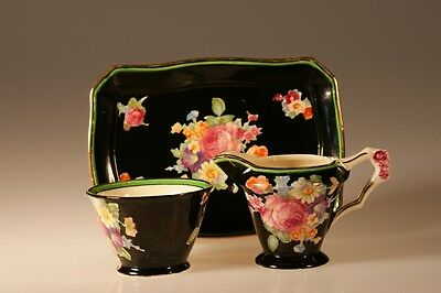 Art Deco Footed  Creamer, Sugar and Tray Set, Made In Japan c. 1930