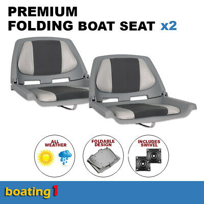 2 Premium Folding Boat Seats Marine All Weather Grey/Charcoal With Swivels