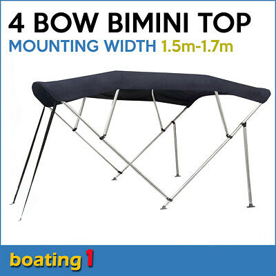 4 Bow 1.5m-1.7m Blue Boat Bimini Top Canopy Cover With Rear Poles & Sock