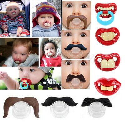 Hot Funny Dummy Dummies Pacifier Novelty Teeth Moustache Baby Child Soother