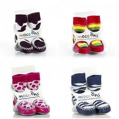 Babies Mocc Ons - Baby Slipper Moccasin Sock Ons - All Designs/Sizes Available
