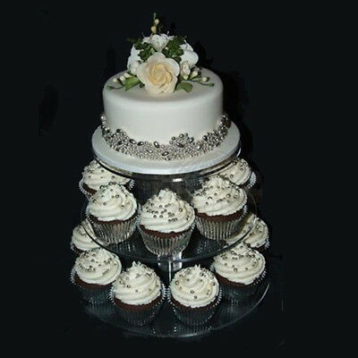 3/5 Tier Crystal Clear Acrylic Round Cake Cupcake Stand Wedding Birthday Display