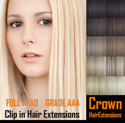 Full Head Clip in Remy Human Hair Extensions- Next Day Delivery