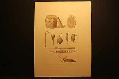 Seth Eastman, Musical Instruments, Sepia Lith 1852