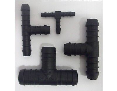 Plastic Barbed T Piece 3 Way Connector Pipe Hose Joiner Tubing Fuel Water