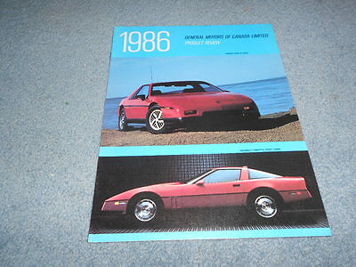 1986 GM GENERAL MOTORS of CANADA PRODUCT REVIEW BROCHURE FIERO CORVETTE ORIGINAL