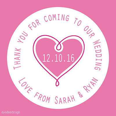 35x Personalised Pink Heart Wedding Love Thank You Envelope Seals Stickers - 486