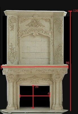 Monumental Travertine Hand Carved Fireplace Mantel