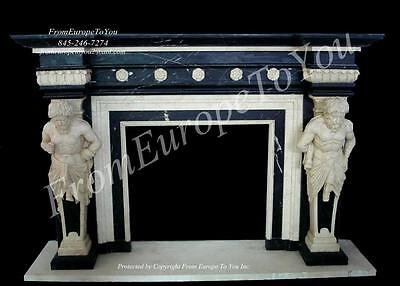 Great Carved Marble Man Of The Mountain Figural Mantle - Yf - Fp028