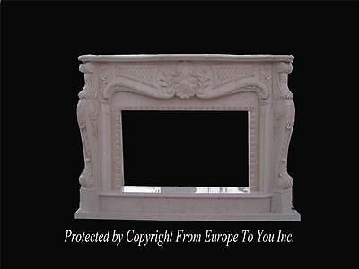 Incredible Hand Carved Marble Estate French Style Firreplace Mantel - Fp712
