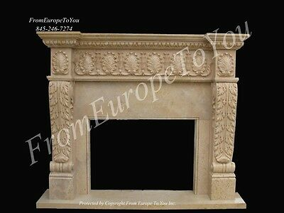 Beautiful Hand Carved Marble And Bronze Living Room Fireplace Mantel Fpm251