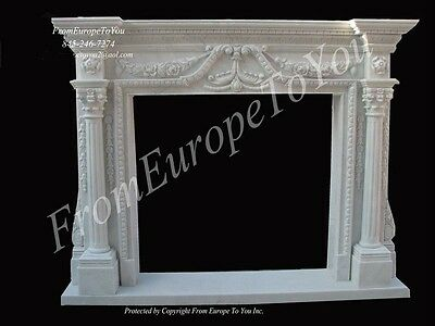 Beautiful Hand Carved Marble Fireplace Mantel Pb7