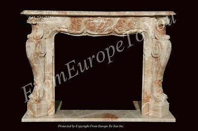 Great Hand Carved Onyx Large French Style Fireplace Mantel Ofp1