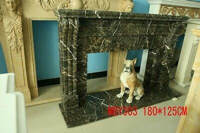 Hand Carved Solid Coffee Marble French Style Fireplace Mantel - Mby303