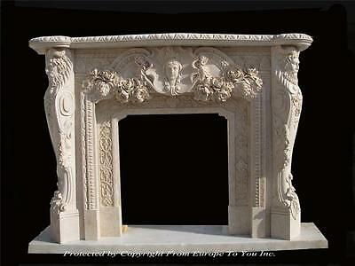 Beautiful Hand Carved Marble Estate Fireplace Mantel - Mbr103-1