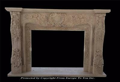 Hand Carved Marble Estate Fireplace Mantel - Marble Fireplace - Fpm1001