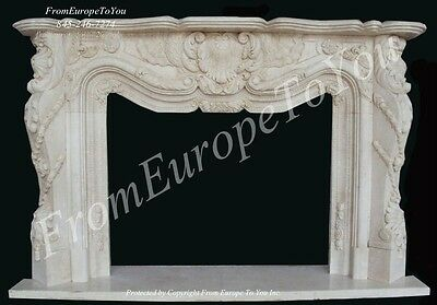 French Hand Carved Marble Fireplace Mantel Mbf042B