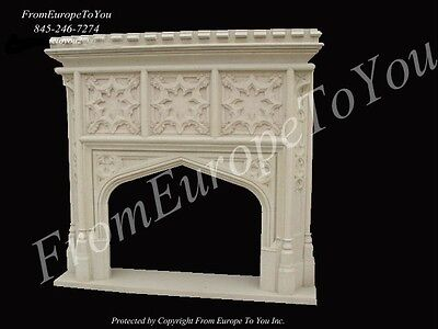 Sandstone Gothic Hand Carved Fireplace Mantel G1