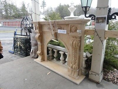 Beautiful Solid Hand Carved Marble Classic European Style Fireplace Mantel -