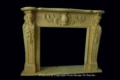 Nice Hand Carved Estate Marble Figural Fireplace Mantel  - Mbr158
