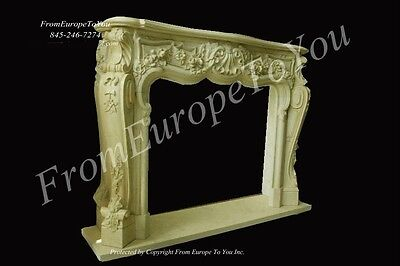 Nice Hand Carved Marble French Style Fireplace Mantel #mbf101
