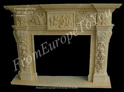 Hand Carved Classical Marble Fireplace Mantel Fgd046