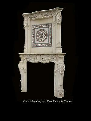 Beautiful Hand Carved Marble Inlaid Monumental Fireplace Mantel- Ghz89