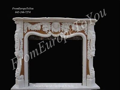 Beautiful Hand Carved Marble Figural Fireplace Mantel