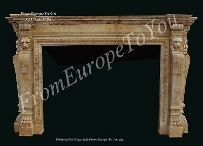 Travertine Hand Carved Lion Marble Fireplace Mantel