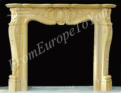 French Style Hand Carved Marble Fireplace Mantel Lc04