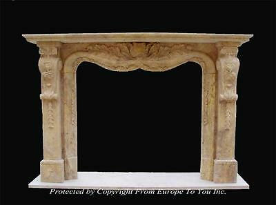 Beautiful Hand Carved Marble Fireplace Mantel - Mntl978