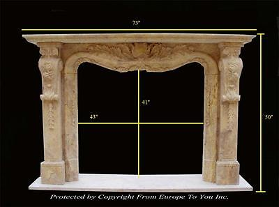 Beautiful Hand Carved Travertine Marble Estate Fireplace Mantel - Mbf108