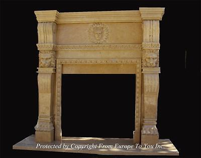 Hand Carved Monumental Marble Apollo Estate Fireplace Mantel - Fpm 9657