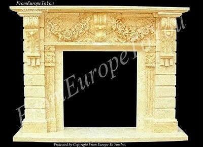 Beautiful Hand Carved Marble Fireplace Mantel Tle13A