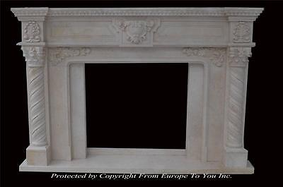 Egypt Cream Marble Fireplace Mantel - Custom Made Fireplace Mantel -  Mfp900