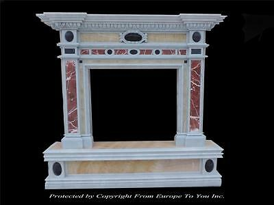 Beautiful Multi Colored Hand Carved Marble Fireplace Mantel -Lm041-1