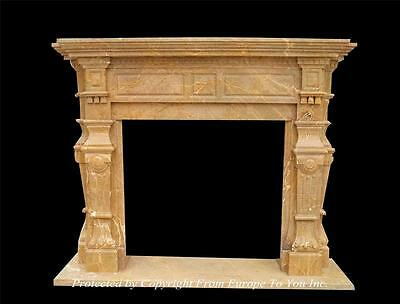 Beautiful Hand Carved Marble European Style Fireplace Mantel - Nm735