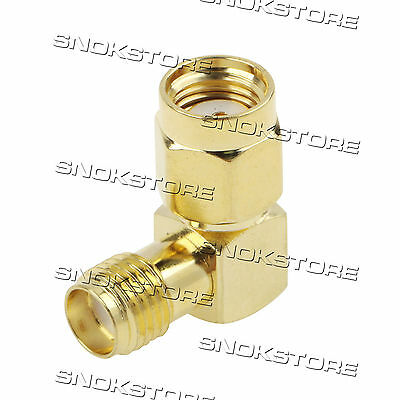 ADATTATORE ADAPTER CONNETTORE connector RP-SMA MALE TO SMA FEMALE RIGHT ANGLE