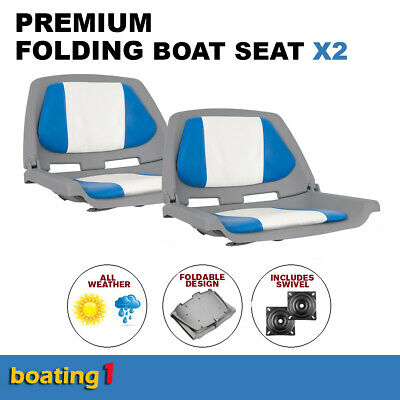 2 Premium Folding Boat Seats Marine All Weather Blue/White With Swivels