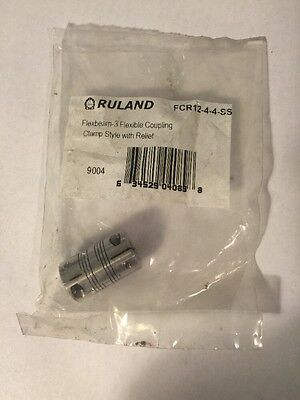 """New Ruland FCR-4-4-SS FLEXBEAM-3 Flexible Coupling Clamp Style With Relief 1/4"""""""